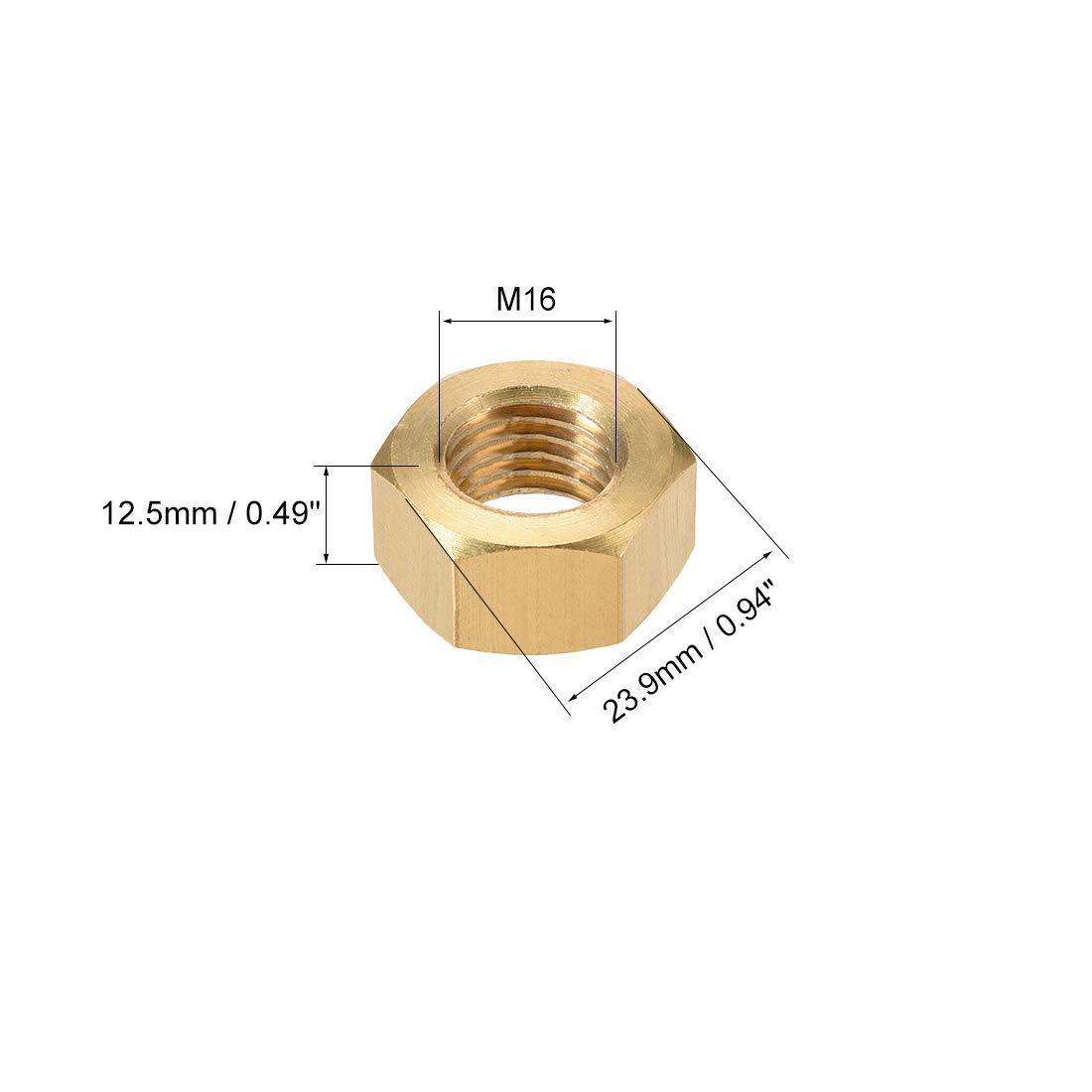 M16x2mm Metric Thick Thread Hexagon nut Pack of 4 Hexagon Nuts Brass