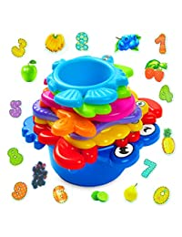aGreatLife My First Stacking Cups: Best Educational Bath Toy for Kids - Fun and Brightly Colored Under the Sea Animals Bath Stacking Cups BOBEBE Online Baby Store From New York to Miami and Los Angeles