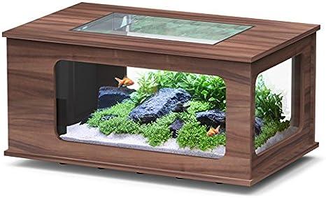 Acuario mesa LED 130 x 75 cm nogal oscuro: Amazon.es ...