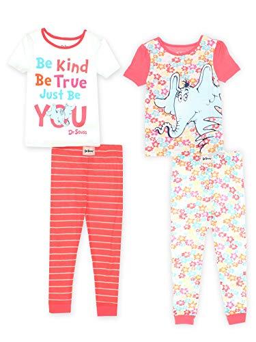 (Dr. Seuss Toddler Girls Horton Hears a Who Cotton 4 Piece 2fer Pajamas Set (2T, Coral/White))
