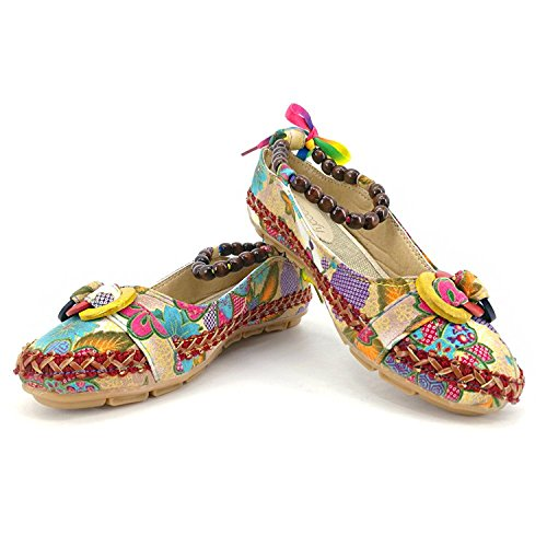 Strappy Apricot Cloth Embroidered Loafers Susanny Dress Boho Flats Beaded Womens Sweet Shoes Style Flower xqUOUYBw