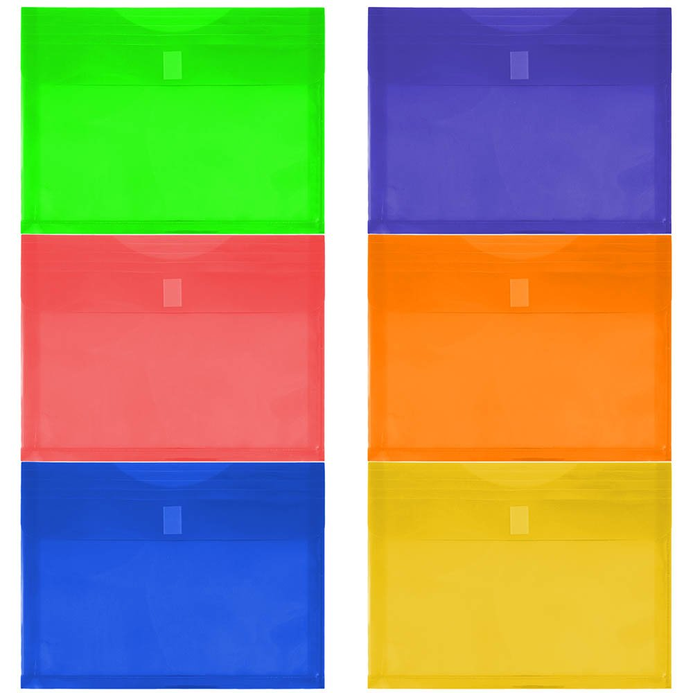 JAM Paper Plastic Envelopes w/ Hook & Loop Closure - 1'' Expansion - Letter Booklet - 9 3/4'' x 13'' - Assorted Colors - 6/pack