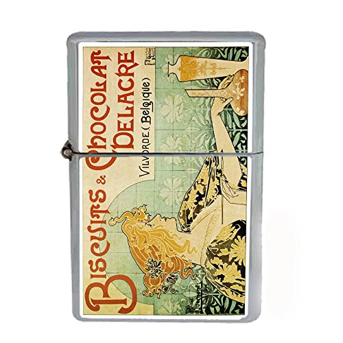 Wind Proof Dual Torch Refillable Lighter Vintage Poster D-055 Biscuits & Chocolat Delacre
