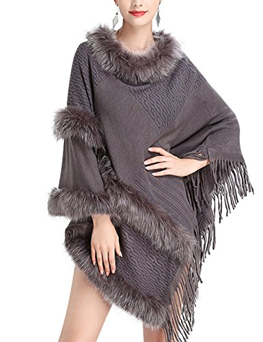 Chic Gris Fourrure Poncho Cocktai Fausse Soirée De Franges Élégant Veste Femme Beunique Top Cape 1ROqPOw
