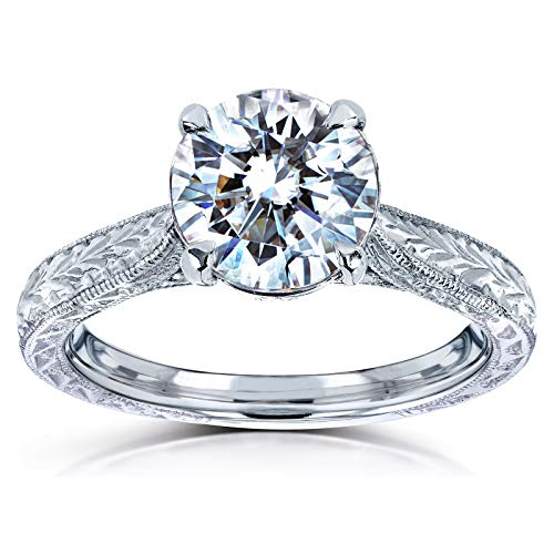 Antique Style Moissanite Engagement Ring with Diamond 1 1/2 CTW 14k White Gold, Size ()