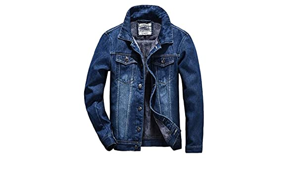 0afcb3802b59c TRENDY XU Men Loose Classical Warm Jean Jacket Fleece Lined Denim Coat at  Amazon Men s Clothing store