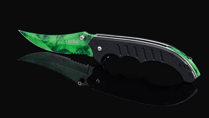 CIMA csgo Flip Knife Skins, Folding Pocket Knife,G10 Handle, 440c Blade