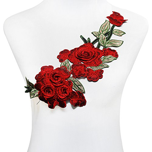 (Resources House 3D Rose Floral Embroidery Patches Applique Lace Sew On Stickers Clothes Decoration Patch (Red))