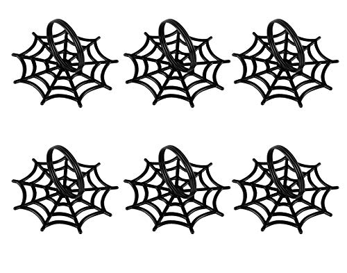 Juvale Halloween Napkin Rings - 6-Pack Black Spider Web Spooky Design Napkin Holder, Scary Costume Theme Party Supplies, Accessories, Lunch and Dinner Table Decoration -
