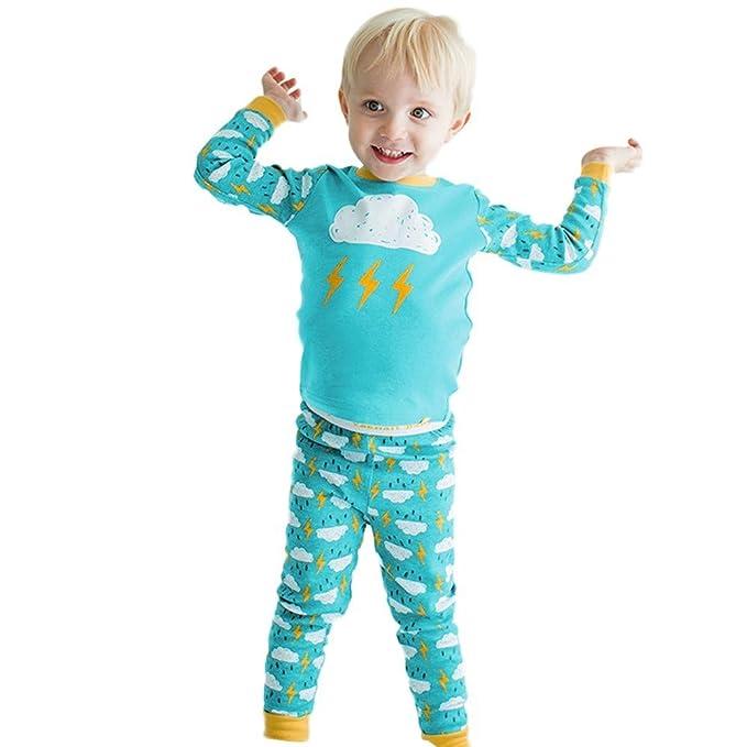 POLP Top Largo de la Nube de la Manga de la Nube de los niños Top+Pantalones Largos de la impresión de la Nube Set de Dos Piezas Pijamas del Servicio del ...
