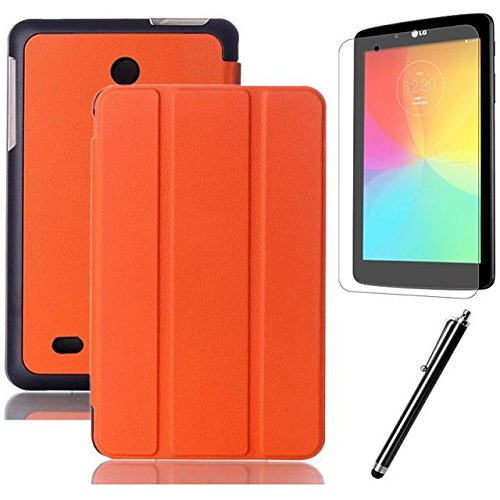 LG G pad 7.0 Case,Beebiz PU Leather and Hard PC Back Smart Cover Flip Folio Case for LG G Pad 7.0 V400 / V410 (LTE) 7-Inch Android Tablet Cases and Covers with Screen Protector and Touch pen (3-Fold,Orange)