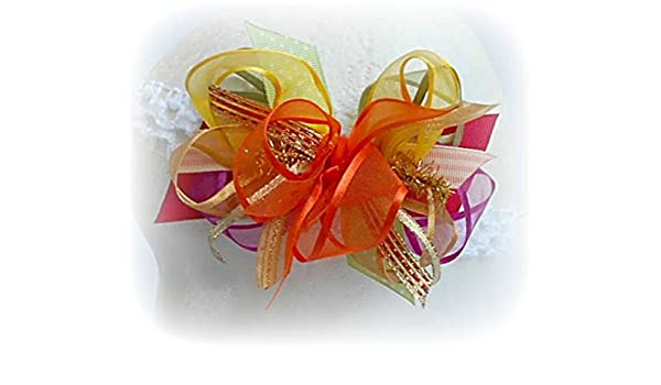 FALL AUTUMN THANKSGIVING INFANT TODDLER LITTLE GIRLS ORGANZA HAIRBOWS HAIR BOW COLORS SAGE GREEN BERRY PEACH YELLOW ORANGE GOLD RUST