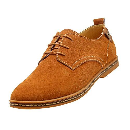 Gleader NUEVOS zapatos de gamuza de cuero de estilo europeo oxfords de los hombres casuales Poco Bronceada(tamano 39)