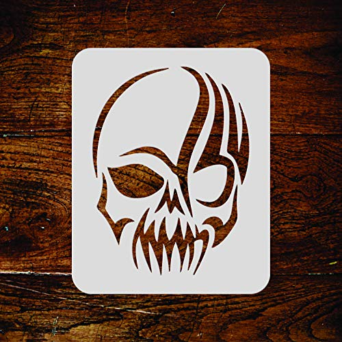 Skull Stencil - 4.5 x 6 inch (M) - Halloween Scary Tattoo Tribal Wall Stencil Template - Use on Paper Projects Scrapbook Journal Walls Floors Fabric Furniture Glass Wood etc. -