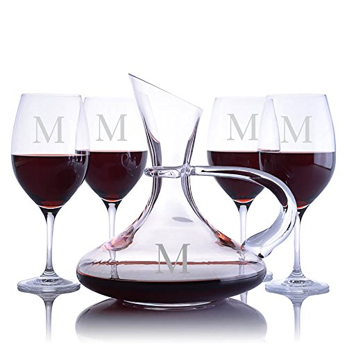 Personalized Ravenscroft Lead-free Crystal Handled Captains Wine Decanter & 4 Stemmed Vintner's Choice Bordeaux/Merlot/Cabernet Red Wine Glasses Engraved & Monogrammed - Gift for Father's - Red Monogrammed Wine