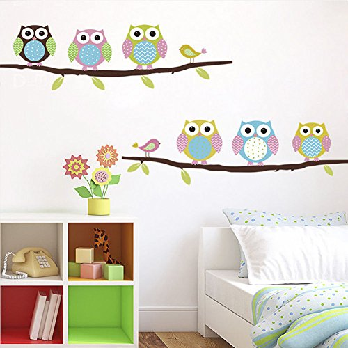 Lovely Cartoon Owl Tree Wall Stickers Removable Kids Room Vinyl