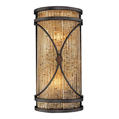 - Metropolitan Monte Titano Collection N6047-159 2-Light Cylindrical Wall Sconce, Monte Titano Oro Finish with Butterscotch Swirl Piastra Glass