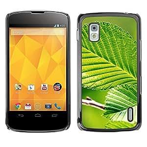 Be Good Phone Accessory // Dura Cáscara cubierta Protectora Caso Carcasa Funda de Protección para LG Google Nexus 4 E960 // Green Leaf Nature Sun