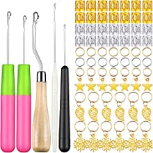 80 Pcs Latch Hook Hair Dreadlocks Beads Tool Kit, Includes 5 Pcs Latch Hook Crochet Needle and 75 Pcs Gold Silver Dreadlock Beads Metal Hair Cuffs Hair Braids Rings Clips Hair Jewelry Accessories