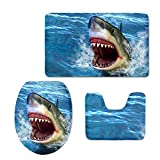 Coloranimal Funny Animal Shark Printing 3 Piece Soft Bath Rug Sets Includes Bathroom Mat Rug Lid Toilet Cover Home Decorative Doormat Softness Comfortable