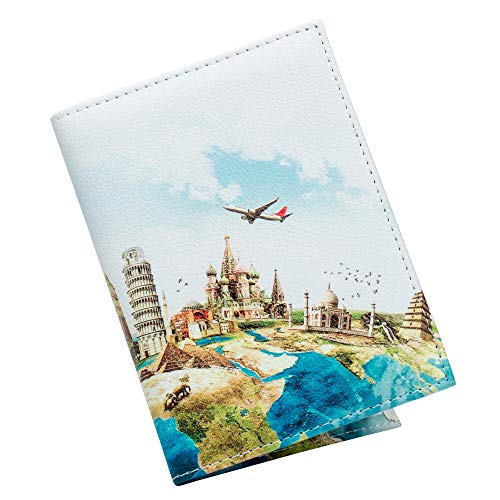 ZONGSHU Passport Cover Holder Case Scenery Patten Travel Luggage Passport Waller With Pu Leather
