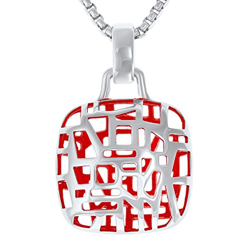 "Rhodium Plated, Sterling Silver Square Pendant Necklace, Ruby Red - Unique, Funky Halo Pendants and Charms with Delicate Chain Necklaces, 17.5"" Long - Jewelry for ()"