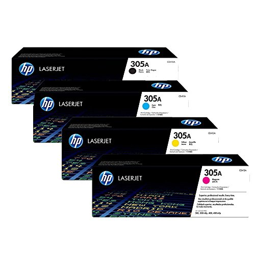 Genuine H-P Original 305A Black, Cyan, Yellow, Magenta Toner Cartridge Set CE410A / CE411A / CE412A / CE413A for HP Laserjet Pro M451/M475 ()