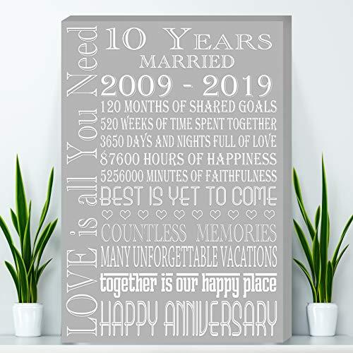 10 Years Anniversary, Tin Anniversary Gift Canvas - Wife Anniversary Gift, Parents Anniversary Gift, Canvas Print (Anniversary Gift Tin)