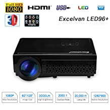 "Excelvan 96+ 3000 Lumens Potable LED Projector Home Theater Video Projector 5.8"" TFT LCD Support 1080P HD HDMI for Home Theater ATV Laptop iPhone Android Smartphone PS4 TV Box(Black)"