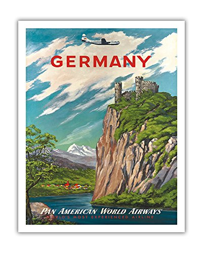 Germany - Der Rhein (The Rhine River) - Pan American World Airways - Vintage Airline Travel Poster c.1950s - Fine Art Print - 11in x 14in (Rhine Framed River)