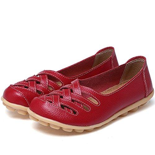 CIOR Damen Echtes Leder Loafers Casual Mokassin Fahr Schuhe Indoor Flache Slip-On Hausschuhe 4.red