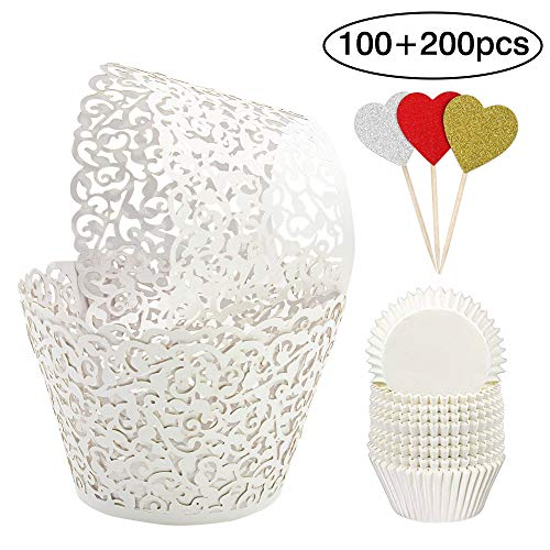 BAKHUK 100Pcs White Cupcake Wrappers Vine Lace Cupcake Liners and 200Pcs Baking Cups for Wedding Birthday Party Decoration ()