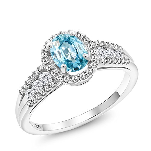 Gem Stone King 1.38 Ct Oval Blue Zircon 925 Sterling Silver Ring (Size ()