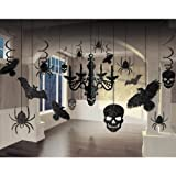 Glitter Haunted House Chandelier Halloween Trick or Treaty Party Decorating Kit, Paper, 15' x 17', Pack of 17.
