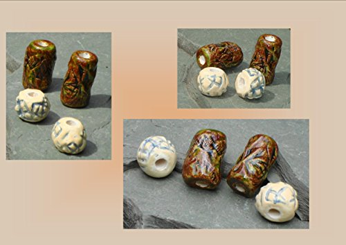 Beads, Dread Beads, Hair Accessories, Large Moss Brown Green Cream Beads, Ceramic Pottery Beads, Handmade Clay Beads (Handmade Dread Beads)