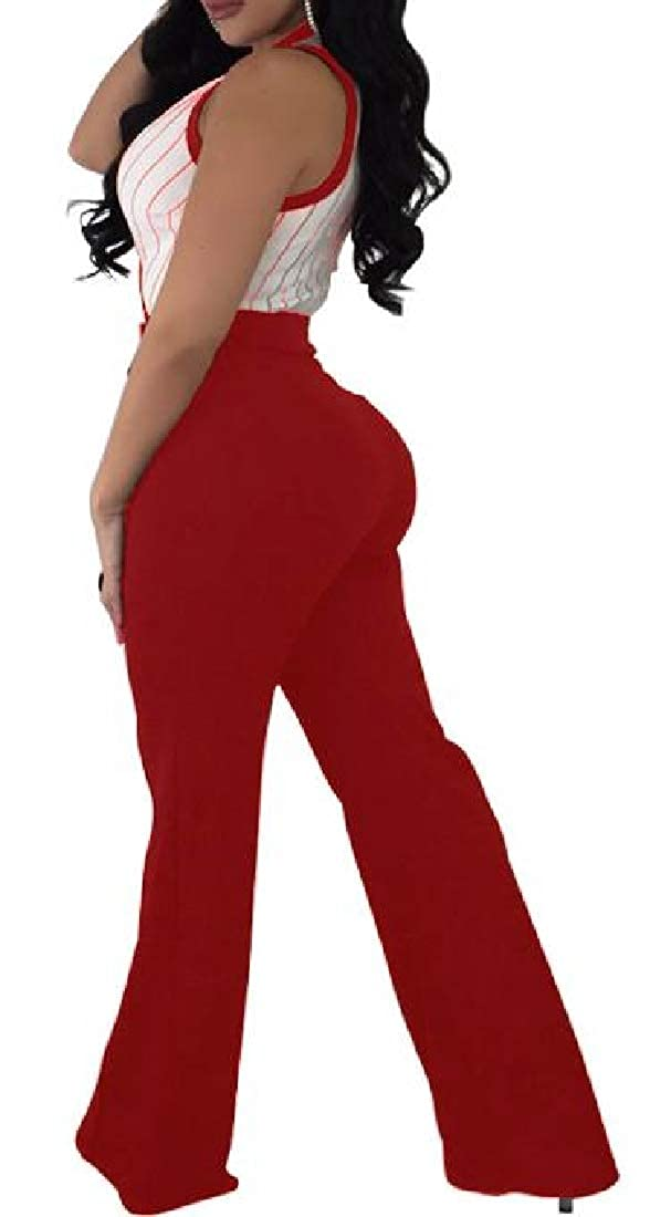 Wofupowga Womens Sleeveless V-Neck Striped Wide Leg Rompers Jumpsuits