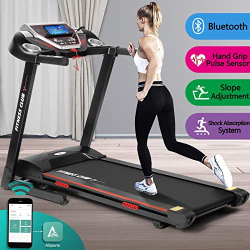 Fitnessclub Folding Electric Treadmill Power Motorised Running Machine with Downloadable Sports App, LCD Display, Hand Grip Pulse Sensor,Tablet Holder, 260 LBS Max Weight