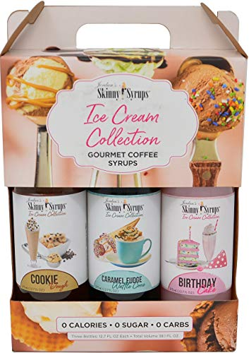 Jordans Skinny Syrups Sugar Free Ice Cream Collection Trio Gift Box 12.7 Ounce Bottles with By The Cup Coasters by By The Cup (Image #1)