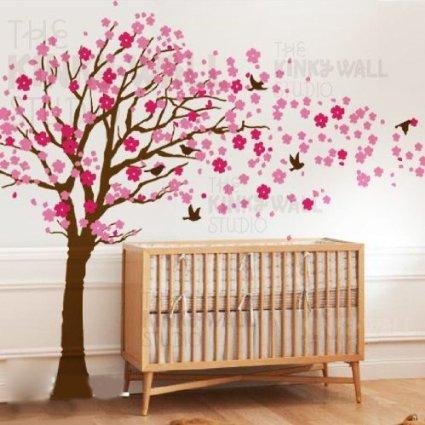 Amazoncom Cherry Blossom Tree Wall Decal With Custom Name Art - Custom vinyl wall decals cherry blossom tree