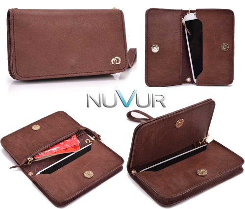 Color: Brown  Devine Genuine Leather  Wristlet Wallet Cell Phone Cover Fits Samsung I8190 Galaxy S III mini + NuVur ™ Key Chain (SSMLVVN1)
