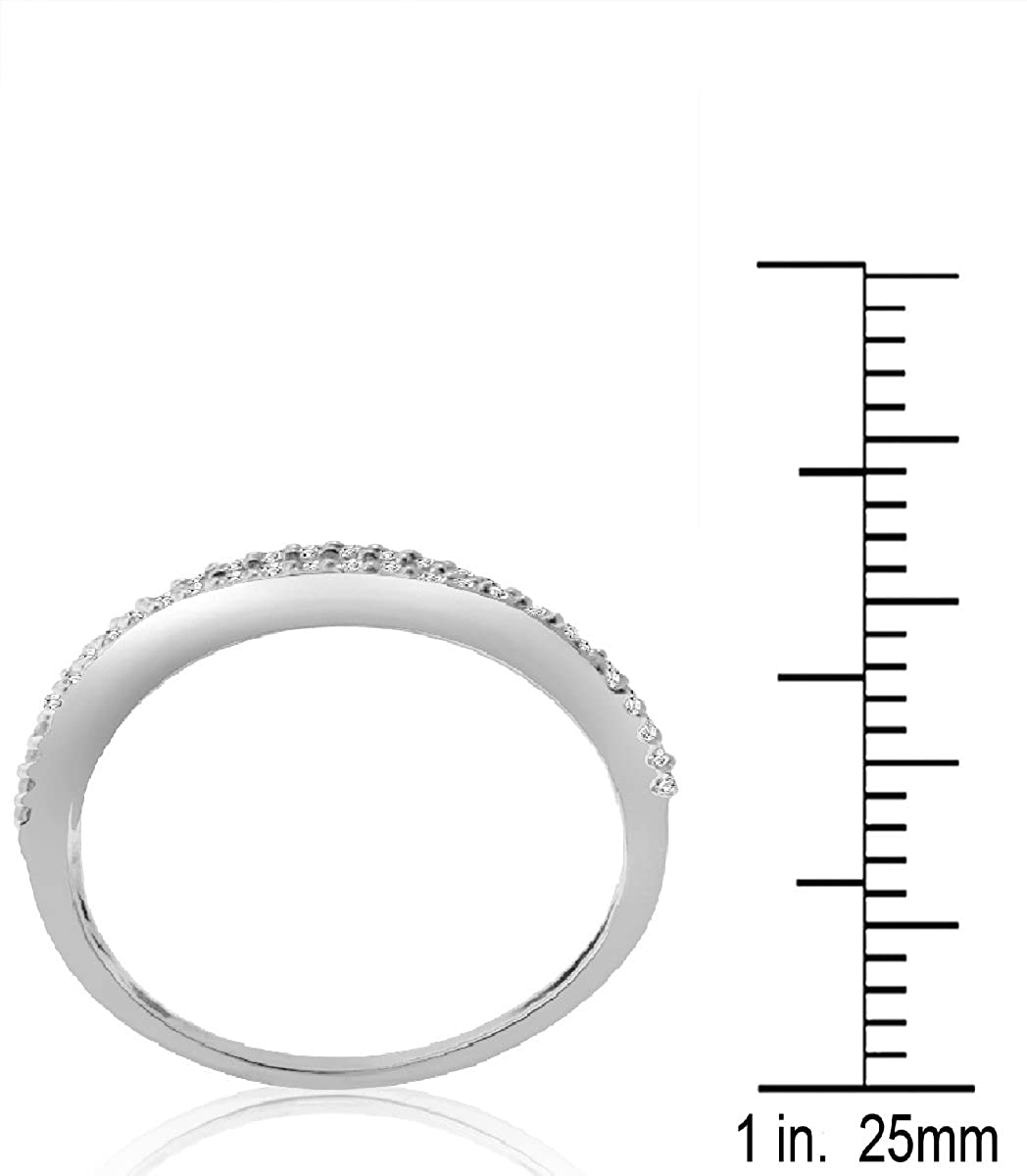 10KT White Gold 1 2CTTW Multi-row Wave Ring