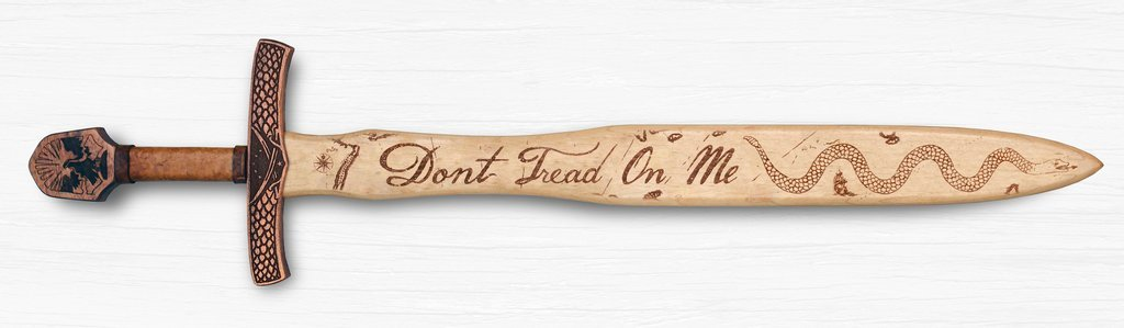 Don't Tread On Me Wooden Sword Wall Art - Hand Crafted - Made in the USA by Campfire Arts