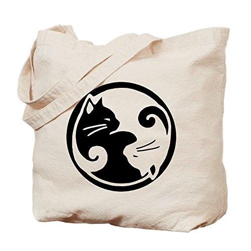 - CafePress Yin Yang Cat Natural Canvas Tote Bag, Cloth Shopping Bag