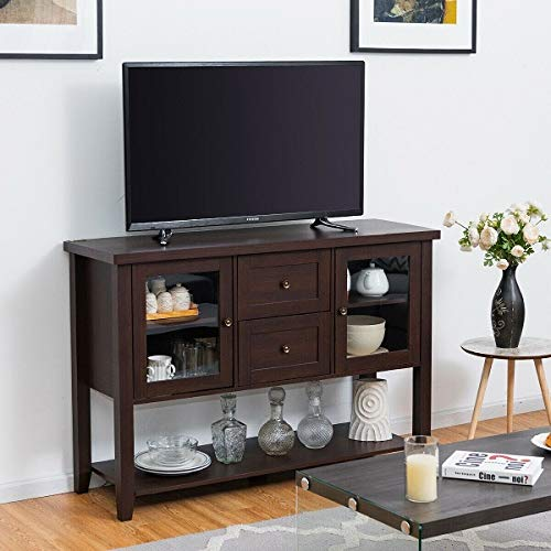 Price comparison product image COSTWAY Wooden TV Stand Decorative Storage Organizer Wood Entertainment Media Console
