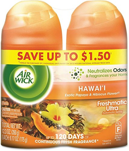 Air Wick Freshmatic 2 Refills Automatic Spray, Hawaii, (2X6.17oz), Air Freshener