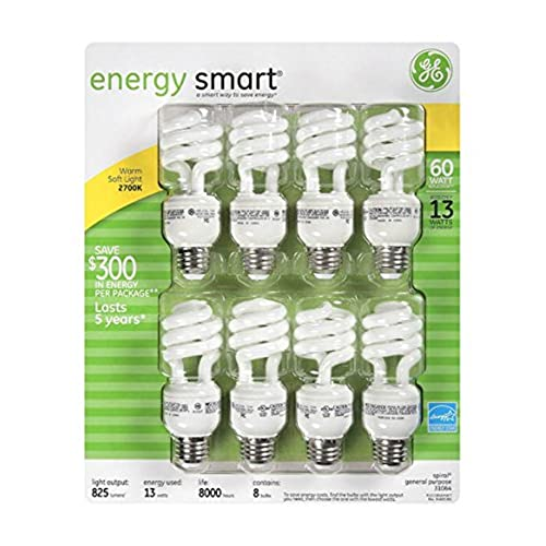 ge 13watt energy smart fluorescent light bulbs 8 pack 60 watt replacement