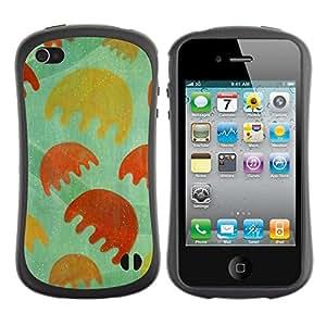 "Pulsar iFace Series Tpu silicona Carcasa Funda Case para Apple iPhone 4 / iPhone 4S , Juego Dibujo minimalista de la flor verde"""