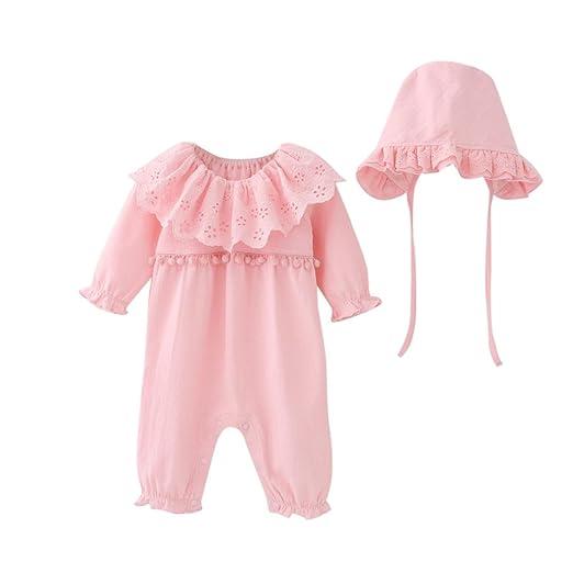 92985b4e2f7 Jinjiu Newborn Infant Baby Girls Ruffle Small Pompom Romper Jumpsuit+Cap Hat  2Pcs Outfit Set