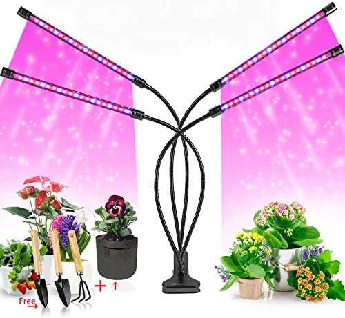 AceShow LM-LED Grow Light for Indoor Plants, Outdoor Plants Lights with 3 9 12H Timer 10 Dimmable Level 3 Switch Red Blue Modes Full Spectrum 4 Heads, Black