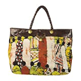 NOVICA Multicolored Leather Accent Batik Linen Tote Bag, 'Cultural Gathering'